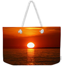 Weekender Tote Bag featuring the photograph Sunset On Superior by Paula Brown