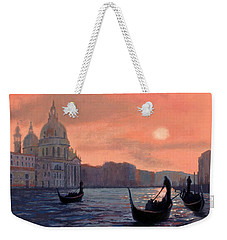 Sunset On The Grand Canal In Venice Weekender Tote Bag by Janet King