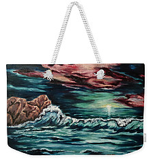 Weekender Tote Bag featuring the painting Sunset On The Horizon by Cheryl Pettigrew