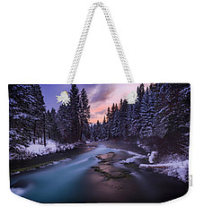 Weekender Tote Bag featuring the photograph Sunset On The Metolius by Cat Connor