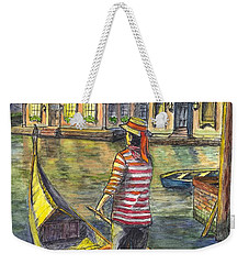 Weekender Tote Bag featuring the painting Sunset On Venice - The Gondolier by Carol Wisniewski