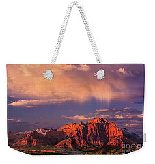 Sunset On West Temple Zion National Park Weekender Tote Bag by Dave Welling