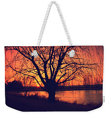 Sunset On Willow Pond Weekender Tote Bag