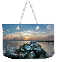 Sunset Over A Rock Jetty On The Chesapeake Bay Weekender Tote Bag