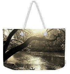 Sunset Over Flat Rock River - Southern Indiana - Sepia Weekender Tote Bag