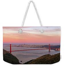 Sunset Over Golden Gate Bridge And San Francisco Skyline Weekender Tote Bag