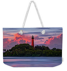 Weekender Tote Bag featuring the photograph Sunset Over Jupiter Lighthouse, Florida by Justin Kelefas
