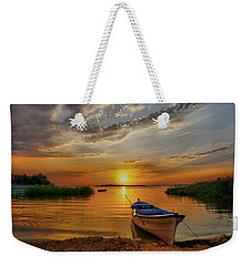 Sunset Over Lake Weekender Tote Bag by Lilia D