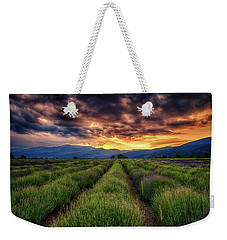 Sunset Over Lavender Field  Weekender Tote Bag