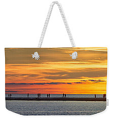Weekender Tote Bag featuring the photograph Sunset Over Ludington Panoramic by Adam Romanowicz