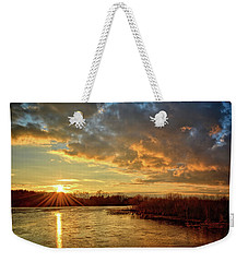 Sunset Over Marsh Weekender Tote Bag by Bonfire Photography
