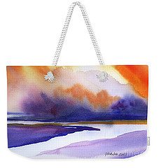 Weekender Tote Bag featuring the painting Sunset Over Marsh by Yolanda Koh