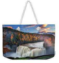 Sunset Over Middle Falls  Weekender Tote Bag by Mark Papke