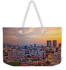 Weekender Tote Bag featuring the photograph Sunset Over Miraflores, Lima, Peru by Mary Machare
