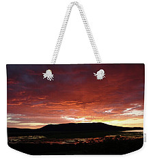 Weekender Tote Bag featuring the painting Sunset Over Mormon Lake by Dennis Ciscel