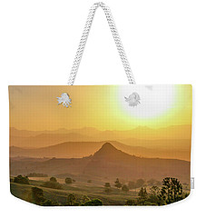 Weekender Tote Bag featuring the photograph Sunset Over Mt Sugarloaf by Keiran Lusk