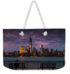 Weekender Tote Bag featuring the photograph Sunset Over New World Trade Center New York City by Ranjay Mitra
