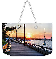 Sunset Over Newburyport Ma Merrimack River Newburyport Turnpike Weekender Tote Bag