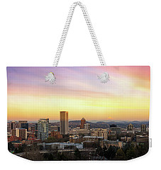 Sunset Over Portland Cityscape And Mt Hood Weekender Tote Bag