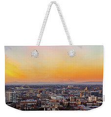 Sunset Over Portland Cityscape And Mt Saint Helens Weekender Tote Bag
