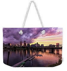 Sunset Over Portland Oregon Downtown Waterfront Weekender Tote Bag
