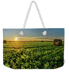 Weekender Tote Bag featuring the photograph Sunset Over Prince Edward Island Clover by Chris Bordeleau