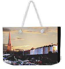 Weekender Tote Bag featuring the photograph Sunset Over St Mary Redcliffe Bristol by Terri Waters