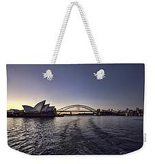 Sunset Over Sydney Harbor Bridge And Sydney Opera House Weekender Tote Bag by Douglas Barnard