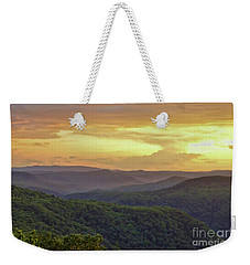 Weekender Tote Bag featuring the photograph Sunset Over The Bluestone Gorge - Pipestem State Park by Kerri Farley