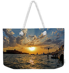 Sunset Over The Grand Canal In Venice Weekender Tote Bag