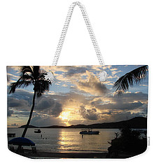 Sunset Over The Inifinity Pool At Frenchman's Cove In St. Thomas Weekender Tote Bag by Margaret Bobb