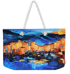 Weekender Tote Bag featuring the painting Sunset Over The Village 2 By Elise Palmigiani by Elise Palmigiani