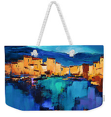 Weekender Tote Bag featuring the painting Sunset Over The Village 3 By Elise Palmigiani by Elise Palmigiani