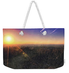 Weekender Tote Bag featuring the photograph Sunset Over Wisconsin Treetops At Lapham Peak  by Jennifer Rondinelli Reilly - Fine Art Photography