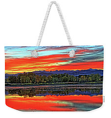 Weekender Tote Bag featuring the photograph Sunset Ponds by Scott Mahon
