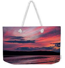 Sunset Red Lake Weekender Tote Bag