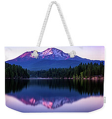 Weekender Tote Bag featuring the photograph Sunset Reflection On Lake Siskiyou Of Mount Shasta by John Hight