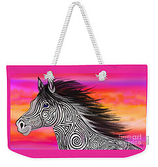 Weekender Tote Bag featuring the painting Sunset Ride Tribal Horse by Nick Gustafson