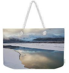 Sunset River Reflections With Fog Weekender Tote Bag