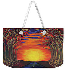 Treetop Sunset River Sail Weekender Tote Bag