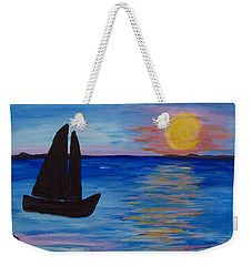 Sunset Sail Dark Weekender Tote Bag
