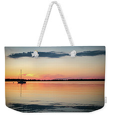 Weekender Tote Bag featuring the photograph Sunset Sail On Calm Waters by Kelly Hazel