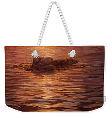 Weekender Tote Bag featuring the painting Sunset Snuggle - Sea Otters Floating With Kelp At Dusk by Karen Whitworth