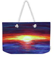 Weekender Tote Bag featuring the painting Sunset by Sonya Nancy Capling-Bacle