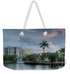 sunset South Florida canal Weekender Tote Bag