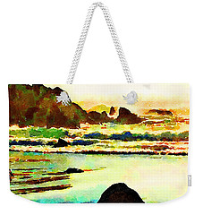 Weekender Tote Bag featuring the painting Sunset Surf by Angela Treat Lyon