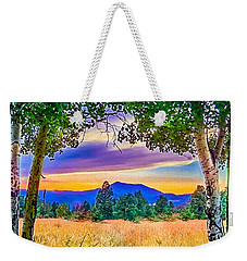 Weekender Tote Bag featuring the painting Sunset Through The Birch Trees by Bob and Nadine Johnston