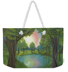 Weekender Tote Bag featuring the mixed media Sunset Through Trees by Angela Stout