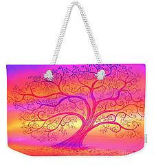 Weekender Tote Bag featuring the painting Sunset Tree Cats by Nick Gustafson