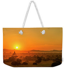 Weekender Tote Bag featuring the photograph Sunset View Of Bagan Pagoda by Pradeep Raja Prints